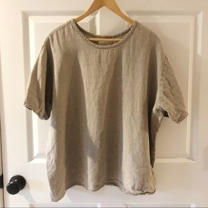 FLAX | Natural Tan 100% Linen Lagen Look Blouse